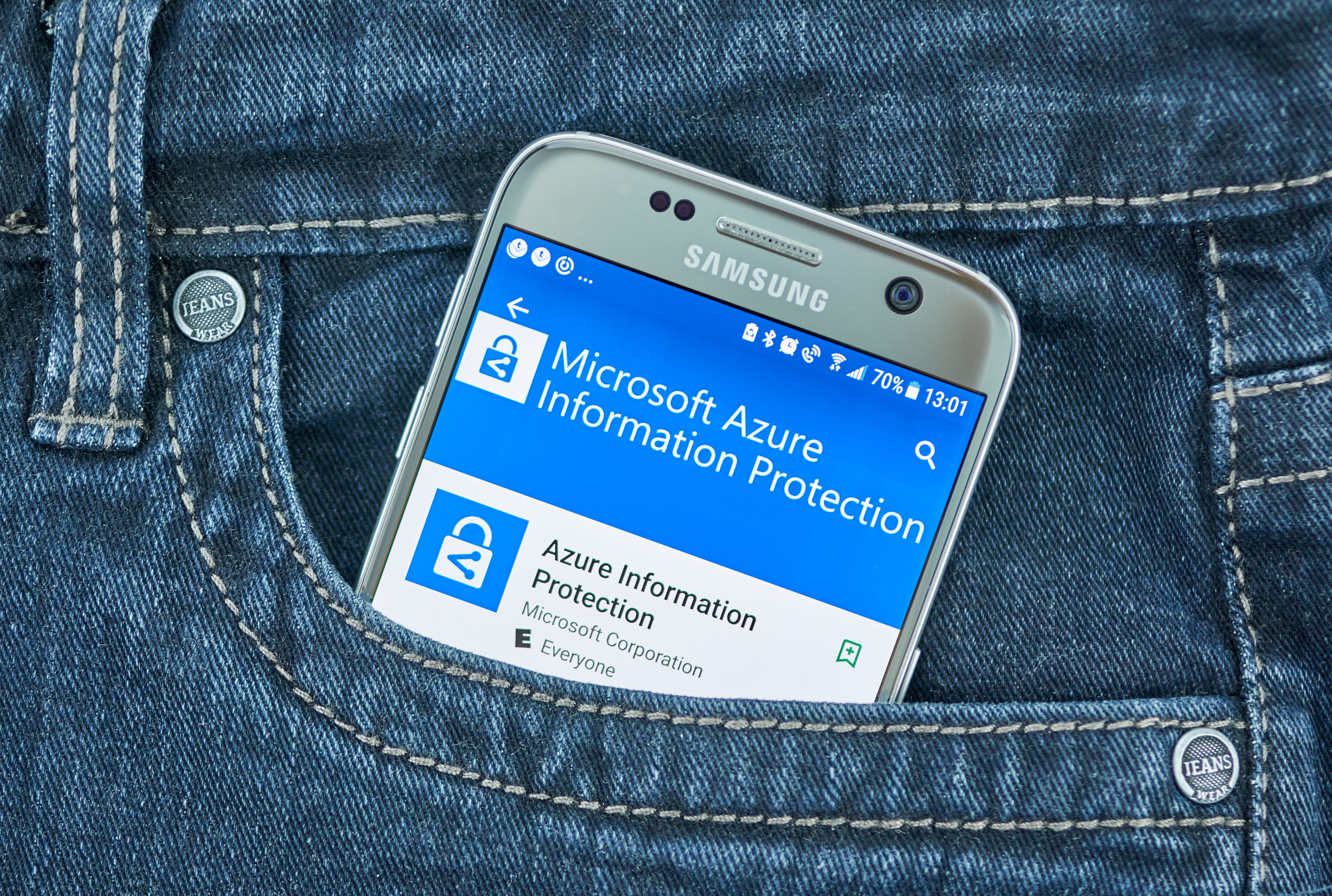 microsoft azure information protection mobile application on screen of Samsung